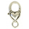 Lobster Clasp 27mm Fancy Antique Silver Plain Heart